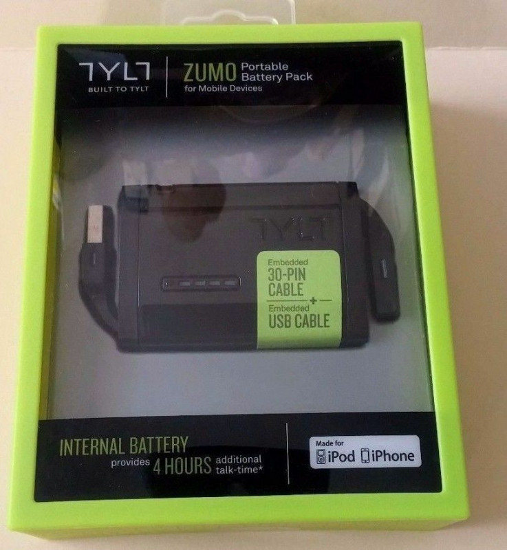 TYLT Zumo Portable Battery Pack 1500mAh Power Bank 30-Pin для iPod iPhone, Black купить